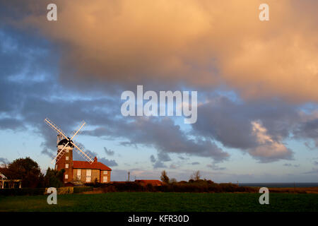 Weybourne towermill Norfolk at dawn, it was built in 1850 on the north side of the Sheringham Road. - Stock Photo
