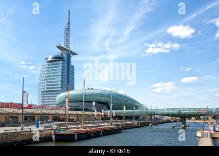 Mediterraneo shopping centre, Atlantic Hotel Sail City and Klimahaus Bremerhaven buildings at Bremerhaven city center, - Stock Photo