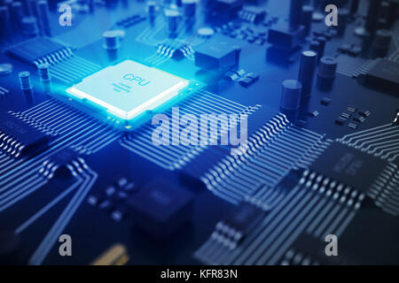 3D rendering Circuit board. Technology background. Central Computer Processors CPU concept. Motherboard digital - Stock Photo