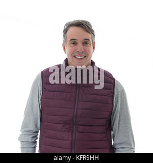 Gray-haired and middle-aged person is wearing a red vest. Isolated on white background. - Stock Photo