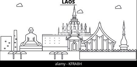 Laos architecture skyline buildings, silhouette, outline landscape, landmarks. Editable strokes. Urban skyline illustration. - Stock Photo