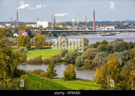 Rhine meadows in Duisburg Hochemmerich, Germany, Werthauser Wardt nature reserve, Neuenkamp Rhine bridge, A40 motorway, - Stock Photo