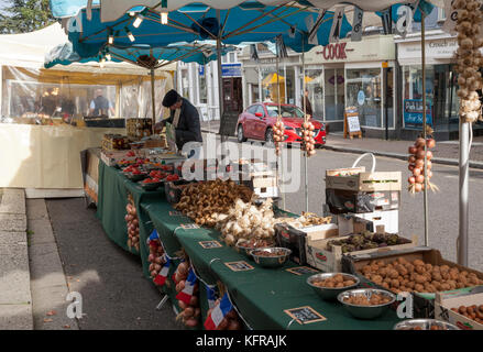 Onion stall in French Market in the UK - Stock Photo