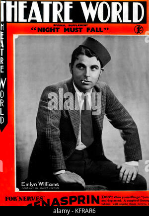 Night Must Fall, written and starring Emlyn Williams, on the cover of Theatre World, September 1935.   Duchess Theatre, - Stock Photo