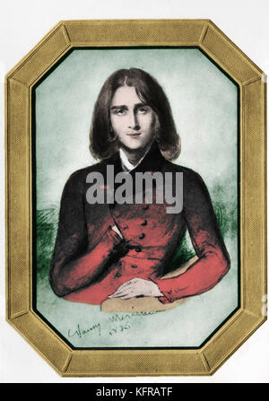 Franz Liszt as a young man in 1836.After Portrait by Nancy Mérienne, painted in Geneva - Hungarian pianist and composer. - Stock Photo