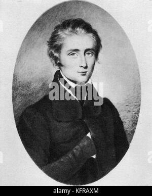 Franz Liszt - portrait  aged 21, 1832. From miniature on ivory by Morinière. Hungarian pianist and composer,  22 - Stock Photo