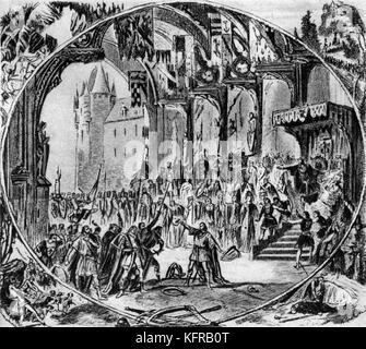 First performance of Tannhäuser in Paris, illustrated by Alphonse-Marie-Adolphe de Neuville. Tannhäuser, a three - Stock Photo