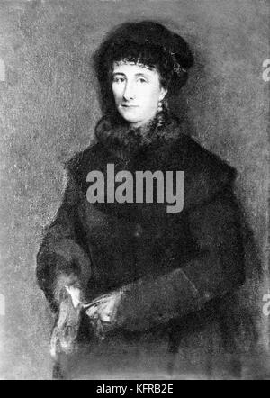 Cosima Wagner - portrait. After oil painting by Franz von Lenbach.  Daughter of Liszt and Countess Marie d'Agoult. - Stock Photo