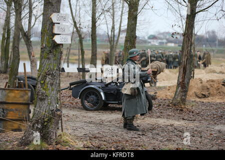 Belarus, Gomel, November 21, 2016, Reconstruction of the battle of the Second World War.Soldier of the German army - Stock Photo