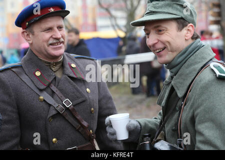 Belarus, Gomel, November 21, 2016, Reconstruction of the battle of the Second World War.Russian and German soldiers - Stock Photo