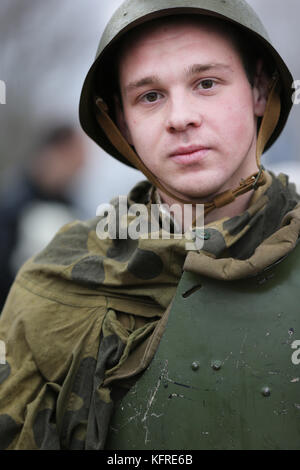 Belarus, Gomel, November 21, 2016, Reconstruction of the battle for World War II. Children are the second world - Stock Photo