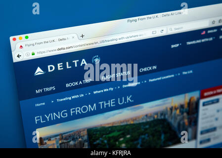 LONDON, UK - OCTOBER 21ST 2017: The homepage of the official website for Delta Airlines, the major American Air - Stock Photo