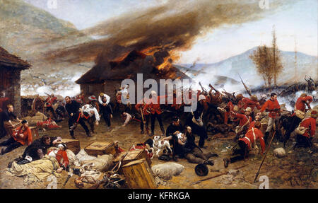 Painting of the Battle of Rorke's Drift by Alphonse de Neuville which took place in Natal during the Anglo-Zulu - Stock Photo