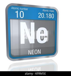 Neon chemical element periodic table science symbol stock photo neon symbol in square shape with metallic border and transparent background with reflection on the floor urtaz Gallery