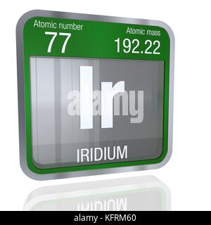 Iridium symbol  in square shape with metallic border and transparent background with reflection on the floor. 3D - Stock Photo