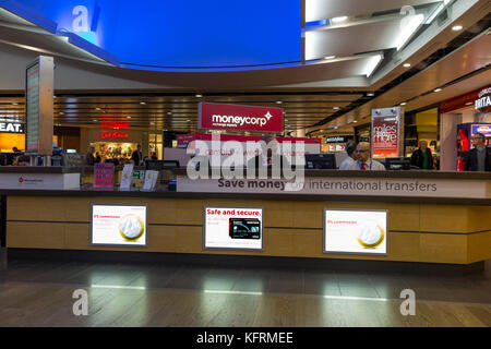 Bureau de Change office operated by Moneycorp; Terminal 3 / three at London Heathrow airport. UK. (76) - Stock Photo