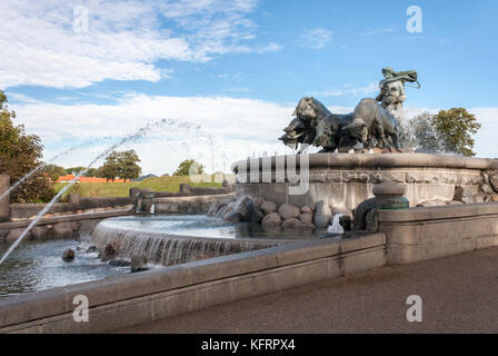 The Gefion Fountain on the harbour front in Copenhagen, Denmark, Europe - Stock Photo