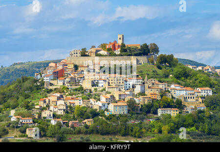 View of famous small old town Motovun on picturesque hill. Istria, Croatia - Stock Photo
