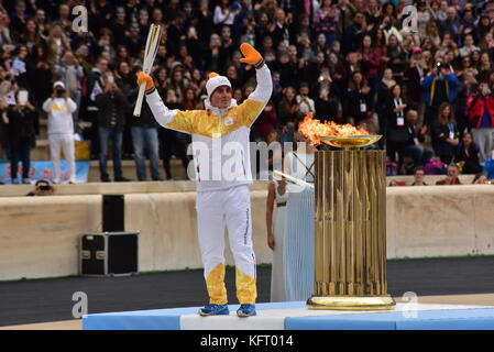 Athens, Greece. 31st Oct, 2017. Last Torchbearer Ioannis Proios after lighting the cauldron. The Handover Ceremony - Stock Photo