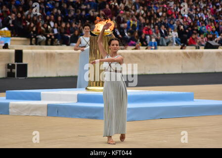Athens, Greece. 31st Oct, 2017. During the Choreography performed by the Priestesses. The Handover Ceremony of the - Stock Photo