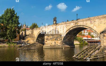 Charles Bridge River across River Vltava or Moldau in the city of Prague, Bohemia, Czech Republic, Central Eastern - Stock Photo