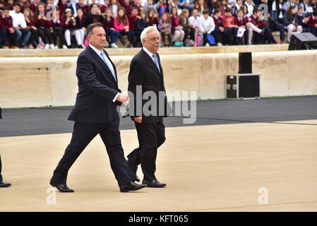 Athens, Greece. 31st Oct, 2017. President of Hellenic Republic Prokopis Pavlopoulos (right) is accompanied by the - Stock Photo