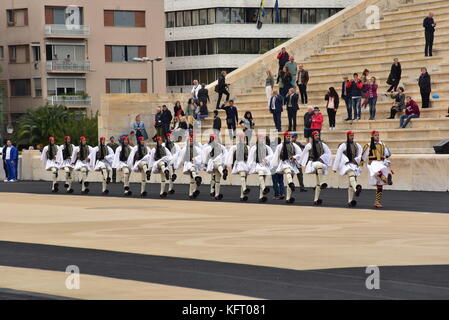 Athens, Greece. 31st Oct, 2017. Greek Presidential Guard is entering the Panathenaic Stadium. The Handover Ceremony - Stock Photo