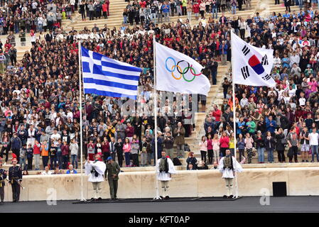 Athens, Greece. 31st Oct, 2017. Greek (left) Olympic (centre) and Korea's flag (right) in the Panathenaic Stadium. - Stock Photo