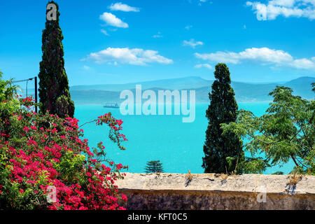 Beautiful view from Carthage garden of Tunis bay. Tunis, Tunisia, North Africa - Stock Photo