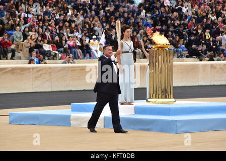 Athens, Greece. 31st Oct, 2017. President of the Hellenic Olympic Committee Spyros Capralos is going to handover - Stock Photo