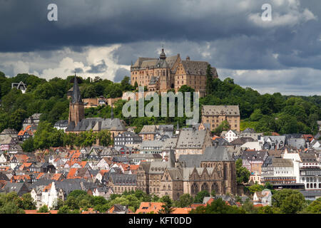 View towards the castle of Marburg, Hesse, Germany - Stock Photo