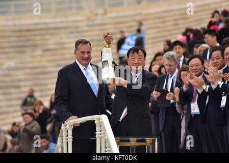 Athens, Greece. 31st Oct, 2017. President of the Hellenic Olympic Committee Spyros Capralos (left) and President - Stock Photo