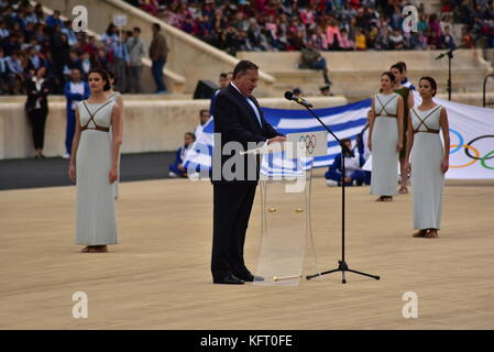 Athens, Greece. 31st Oct, 2017. President of the Hellenic Olympic Committee Spyros Capralos during his speech. The - Stock Photo