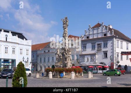 The Holy Trinity Column (Dreifaltigkeitssäule) in the main square (Kornplatz) of Langenlois, the wine capital of - Stock Photo