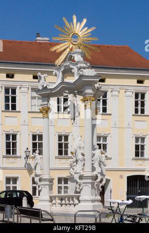 The Dreifaltigkeitssäule (holy trinity column) in Stein an der Donau in Lower Austria - Stock Photo