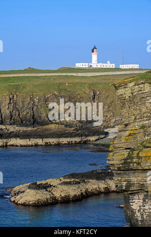 Noss Head Lighthouse near Wick in Caithness, Highland, Scotland, UK - Stock Photo