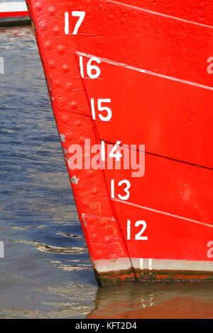 Draught Brands on Sailing Ship Rickmer Rickmers, Hamburg, Germany, Europe  I Tiefgangsmarken am Segelschiff Rickmer - Stock Photo