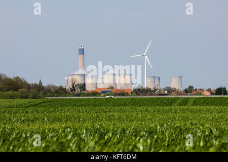 Drax Coal Fired Power Station and a renewable energy wind turbine - Stock Photo