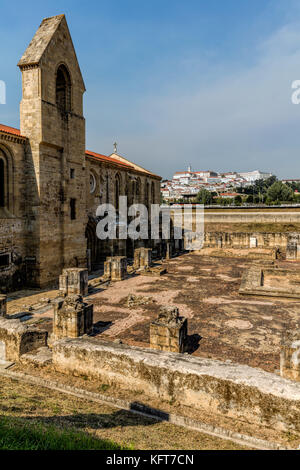 Ruins of the 14th century Monastery of Santa Clara-a-Velha (Old St. Clare) in Coimbra, Portugal - Stock Photo