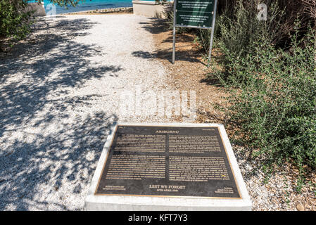 An information plate at ANZAC cove, site of World War I landing of the ANZACs on the Gallipoli peninsula in Canakkale - Stock Photo