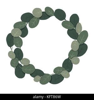 Illustrated Eucalyptus wreath - Stock Photo