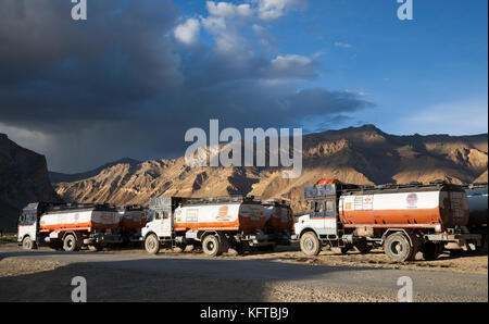 Indian fuel tanker drivers rest up for the night at Sarchu truck stop high in the Himalayan region of Ladakh, Northern - Stock Photo