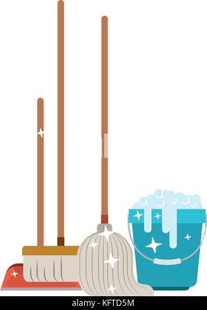 Broom, dustpan, mop and bucket Stock Photo: 61738058 - Alamy