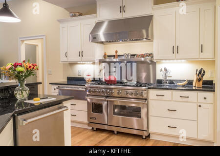 Upscale Residential Dining Kitchen, USA - Stock Photo