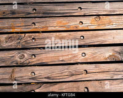 Old wooden planks gritty wood texture background - Stock Photo