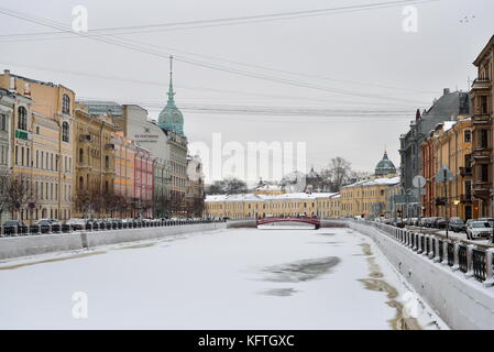 SAINT PETERSBURG, RUSSIA - 12 JANUARY 2017: Moika river in winter on a cloudy day - Stock Photo