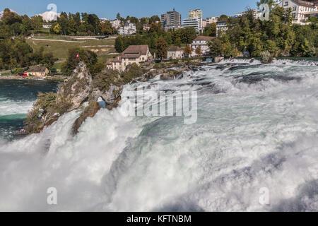 Nice view of Rhine Falls in Switzerland - Stock Photo