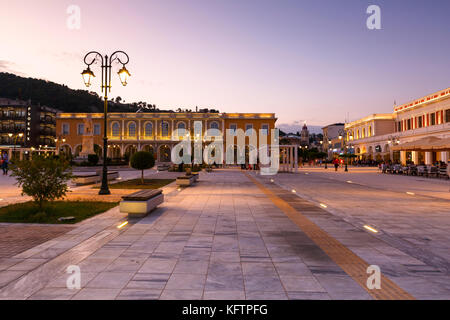 Sunset at Solomos square in Zakynthos town, Greece. - Stock Photo