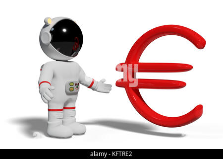 astronaut looking at red euro sign, cute cartoon character with currency symbol isolated on white background - Stock Photo