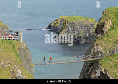 Carrick-a-Rede Rope Bridge, Ballintoy, Co. Antrim, Northern Ireland - Stock Photo
